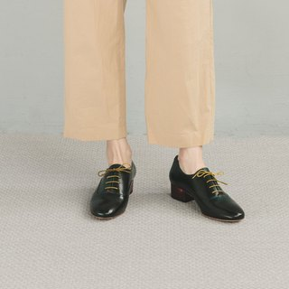 H THREE Round Head 3.4 Oxford Heel Shoes / Malachite Green / Heel Shoes
