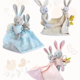 Good things in pairs 【1 pair】 Bunny baby saliva towel + comfort doll full moon gift