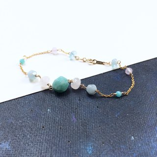 14kgf-amazonite & three colored gems bracelet