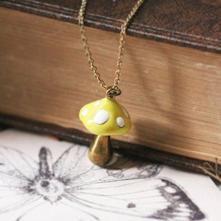 Mushroom Charm Necklace / Linen Jewelry / Small Necklace / everyday jewelry / Mushroom / Yellow Mushroom.