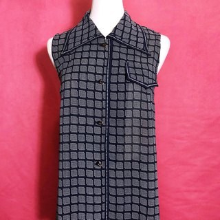 Vintage large collar plaid sleeveless vintage shirt / brought back to VINTAGE abroad