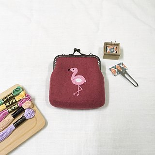 Red Crane / Flamingo Embroidery Woolen Blanket / Coin Purse