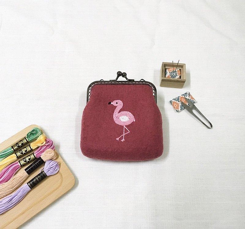 紅鶴/火鶴 刺繡 羊毛氈口金包