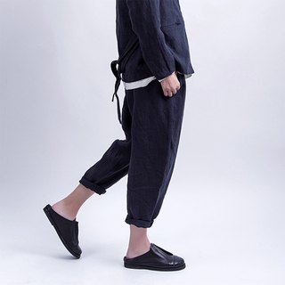 Pure blue linen sand wash pants