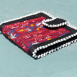 Limited edition handmade embroidery ancient cloth wallet / national wind short clip / embroidery short clip / hand embroidery wallet / folk wind handbag / embroidery bag - desert scenery old cloth flower embroidery