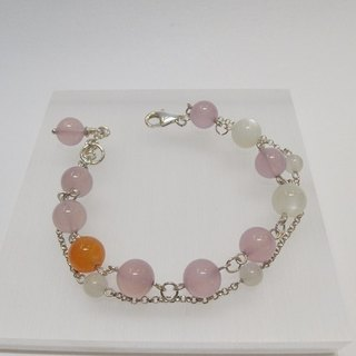 """Touching"" - natural pink chalcedony chalcedony + orange + moonstone silver bracelets original design in Hong Kong"