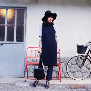 F3024 [Vintage dress] elegant dark blue knit sweater with high collar Long Dress
