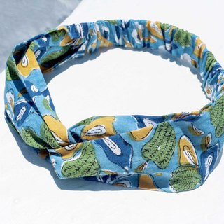 Handmade hair band / Pupu wind hair band / printed hair band / elastic hair band - India woodcut printed colorful leaves flowers