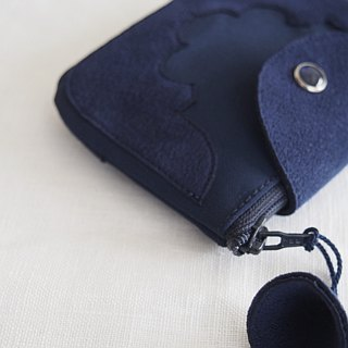 temple coin purse < navy >
