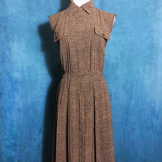 Pocket gold chain sleeveless vintage dress / abroad brought back VINTAGE