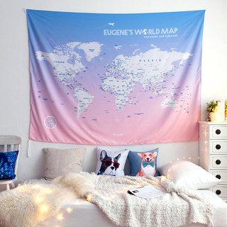 Personalized World Map, Pin Map Travel Map-Pink-Wall Decor (Fabric)