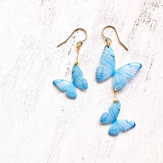 Sky Blue Butterfly Earrings, Dainty 14k Gold Fill, WB01