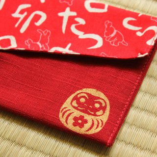[Dharma can not fall] cloth red bag / passbook bag / cash storage bag (2 into)