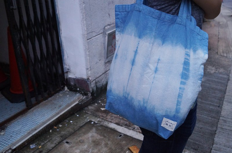 Indigo Hand-dyed Cotton Shopping Bag - Tornado