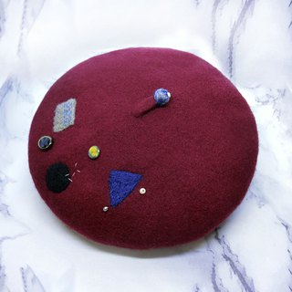 [Shell art] 100% pure wool felt berets (geometric purplish red)
