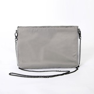 Chain belt oblique backpack. gray