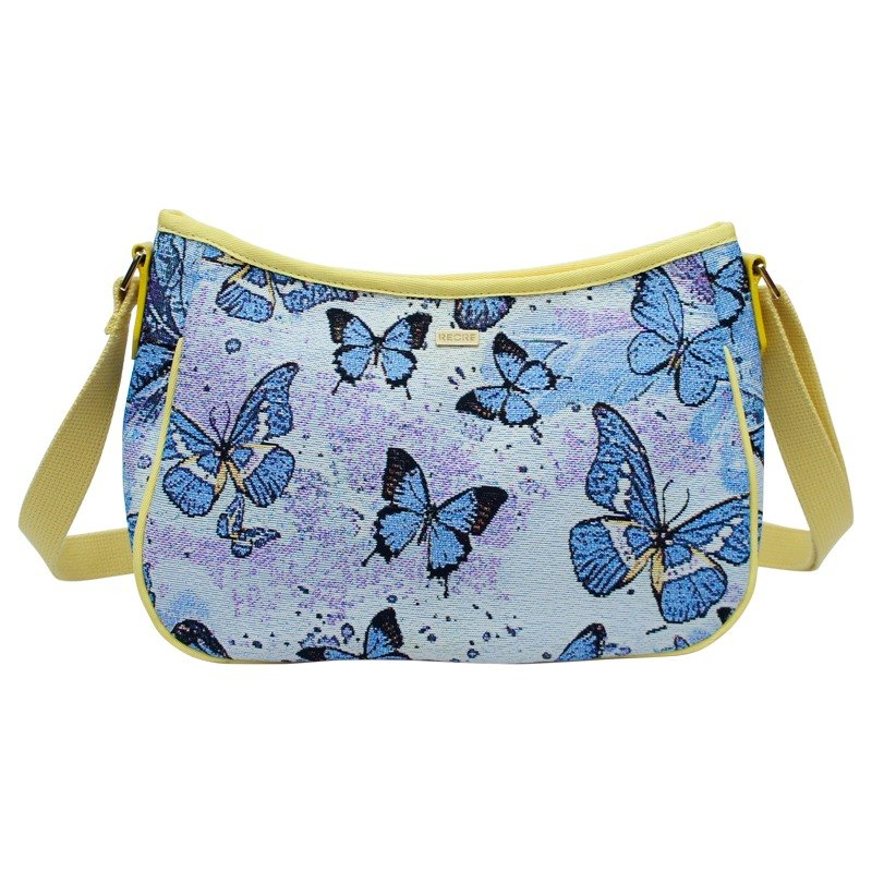 Purple Butterfly Love meniscus oblique backpack yellow