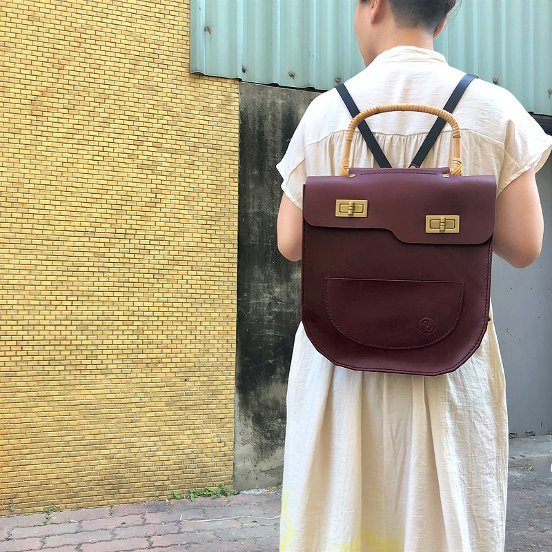 Leather cowhide hand-sewn rattan core backpack/handbag-red wine (birthday gift Valentine's Day)