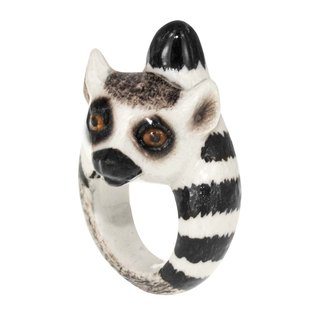 Porcelain lemur Ring (Size S) animal cute handmade France