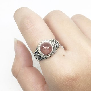 Pink Tourmaline Retro Design Ring in Sterling Silver Nepal Handmade Mosaic (Style 1)