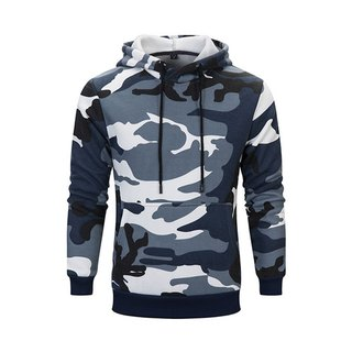 Long-sleeved camouflage hooded T :: khaki :: men and women can wear