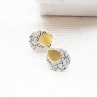 geometry. Brass white turquoise small earrings ear sterling silver