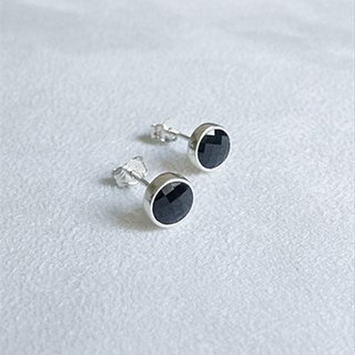 Round glass/Black/Earrings/Swarovski Crystal/Sterling Silver/By hand【ZHÀO】SZE1637