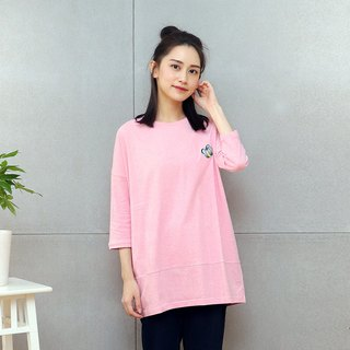 Embroidered long top (powder)