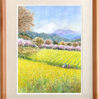 Watercolor picture Mt. Fuji and spring