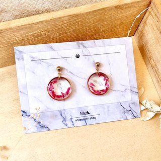 [Hua Xianyue] red red dry flower series earrings (can be changed ear clip)