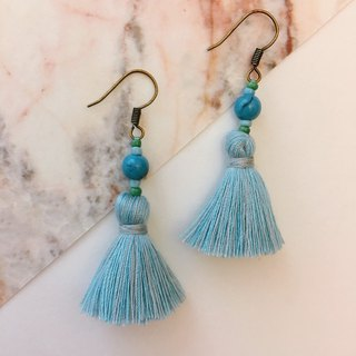 Peacock Blue x Pink Blue Beads Beads Earrings Ear Hooks/ear Clips