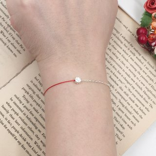 Sterling silver half line half chain sterling silver clover four-leaf clover line with chain silver chain super thin red line bracelet