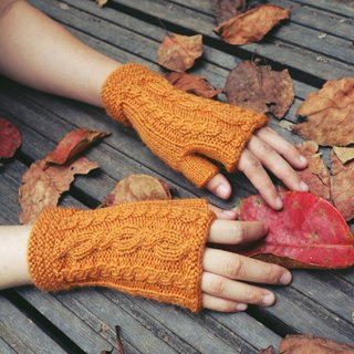 Hand made - autumn chestnut - wool hand knit gloves