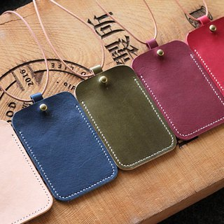 [Vegetable tanned leather] [color] [leather card holder] hand-sewn simple leather clip