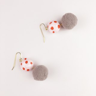Red Polka Dot Pink Bear 18K Gold Earrings