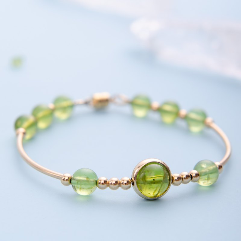 Peridot Bracelet, Natural Gemstone Crystal 14KGF Personalised Bracelet Gold