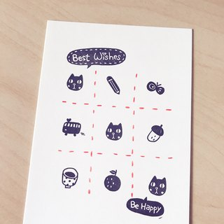 *Miss L handmade postcard* Black Cat Tic-Tac-Toe