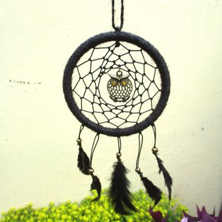 Kites - Owl Dreamcatcher - Black -10cm Circle (Can Wait for Orders)