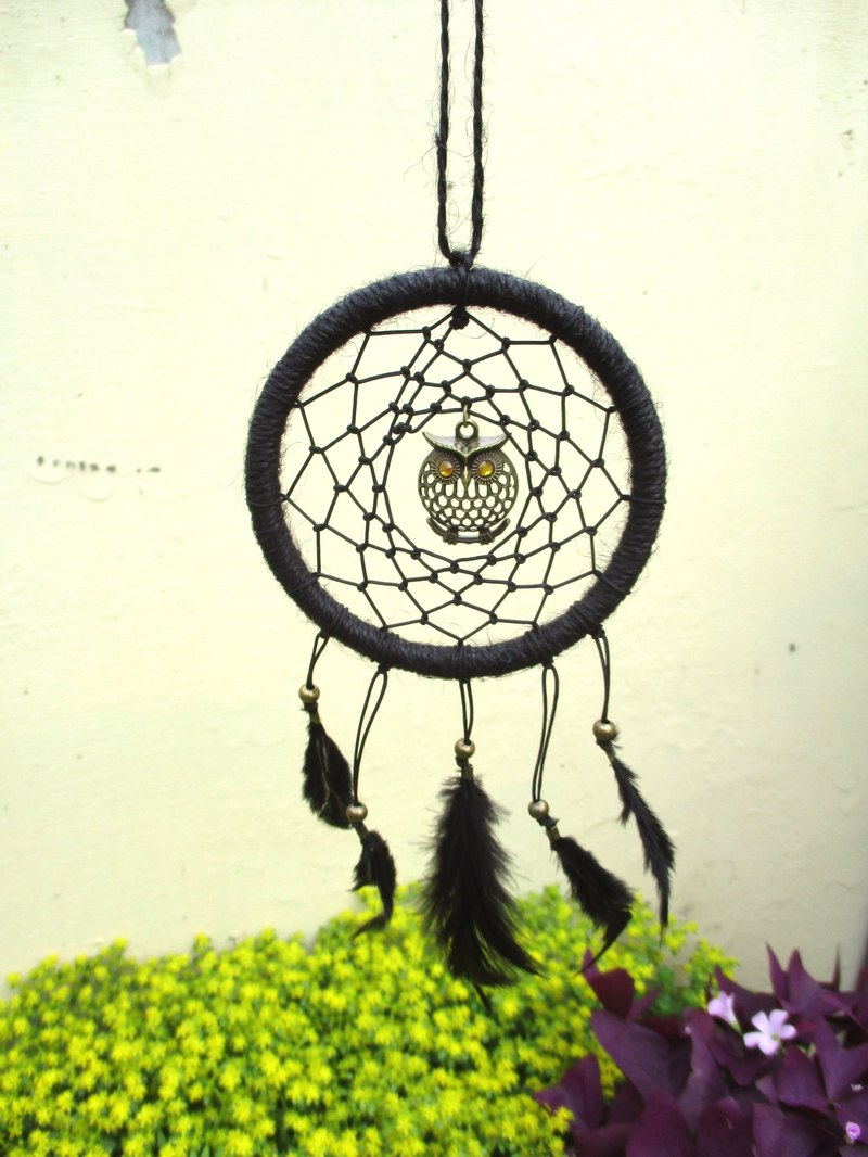 Little Kite - Owl Dream Catcher - Black - 10 cm Circle