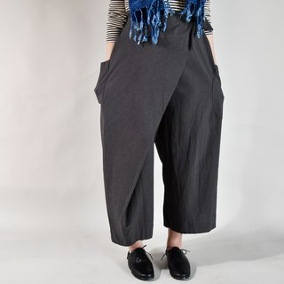 Autumn and winter straps nine pants dark gray