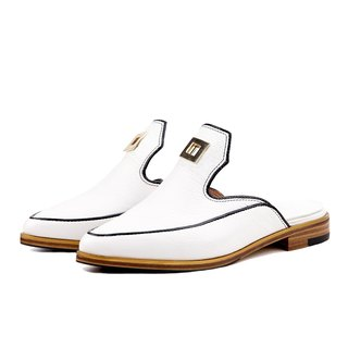 Paris W1068 White leather Backless Loafers