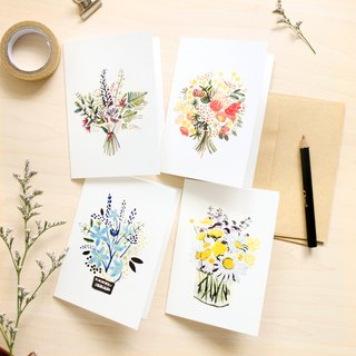 Flower illustrated greeting card (set of 4 pcs)