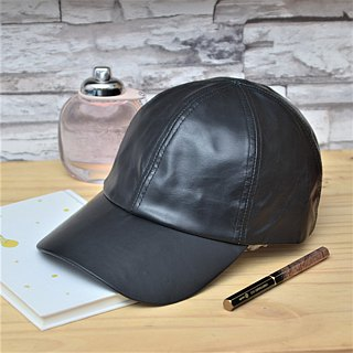 Leather Baseball Cap Oil Wax Cow Leather Layer Leather Hat Black/Red Old Hat