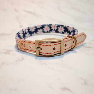 Dog collars, M size, Deep blue small daisy_DCJ090431