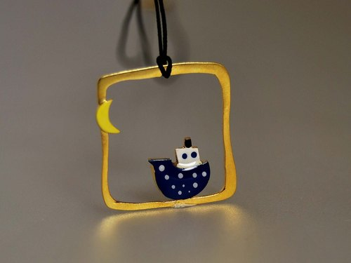 [] Silver gilt moon navy boat cruise neutral wind box pendant necklace square pendant with cotton rope across the coast TRAVEL THE SEAS compact design simple and elegant creative birthday gift N143 | Greek original handmade jewelry This and That