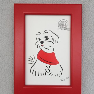 Q Family Postcard + Frame (red) Maltese -1