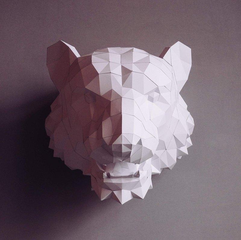 正版匠紙_DIY 材料_紙模型_禮物_手作_至尊虎首壁飾