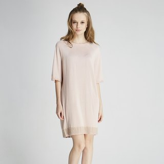 Ball heart round neck knit dress (1701KD01PK-F)