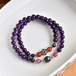 Amethyst + Ruby + South Red Agate + Black Sun Stone Double Circle Sterling Silver Bracelet
