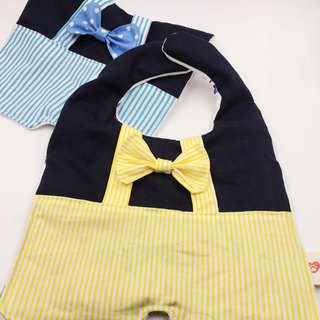 Gentleman bow tie suspenders shape bib double yarn saliva towel Mi Yueli